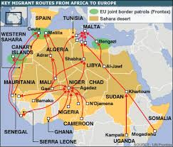 africa map color frontex map with migration flows across africa and the