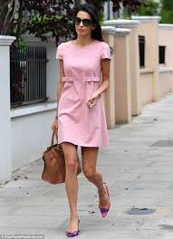what to wear with a light pink dress amal alamuddin puts on a leggy display in pretty pink dress pink