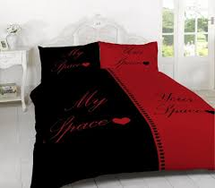 Duvet Cover Double Bed Size My Space Your Space Red And Black Duvet Cover And 2 Pillowcase Set