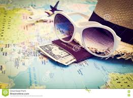 Personal World Map by Sunglasses Passport Money Hat And Aircraft On The World Map