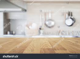 Kitchen Table Close Up Wood Table Top Blur Kitchen Background Stock Photo 443217535