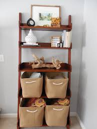 before and after shelf styling in our family room