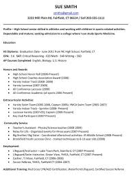 sample high resume for college application