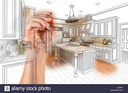 hand drawing custom kitchen design with gradation revealing stock
