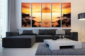 living room prints 5 piece canvas wall art orange huge canvas print ocean canvas