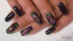 tulips handpainted flower nailart for dark colors youtube