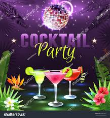 cocktail party poster alcohol cocktail glasses stock vector