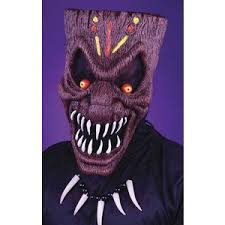 evil tiki face mask halloween costume mask scary rubber