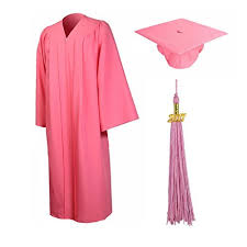 pink cap and gown pink graduation cap and gown