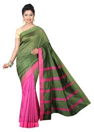 Buy Green Plain Cotton Silk Buy Pink Plain Cotton Silk Saree With Blouse Online