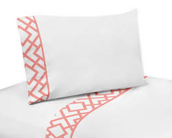 Coral Comforter Sets Mod Diamond White U0026 Coral Comforter Set 3 Piece Full Queen Size