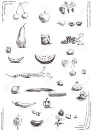 fruits and vegetables collection sketches hand drawing black