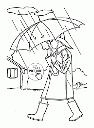 boy in the rain spring coloring page for kids seasons coloring