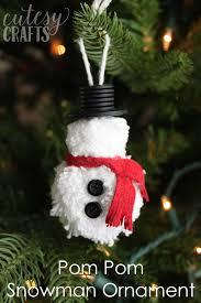 pom pom diy snowman ornament cutesy crafts