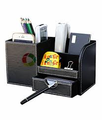 Desk Storage Containers Wooden Leather Multi Functional Desk Stationery Organizer Storage