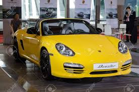 yellow porsche boxster guangzhou china oct 02 porsche yellow boxster sport car on