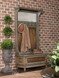 furniture fascinating hall tree bench with brick wall and