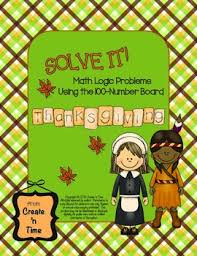 solve it thanksgiving math logic problems using the 100 number board