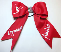 ribbon for hair that says gymnastics personalised gymnast 7in hair bow