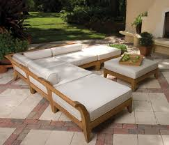 Building Outdoor Wooden Furniture by Exterior Lush Space Beside Fine Garden With Natural Brick Floors