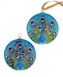ornaments set of 2 peacock disks
