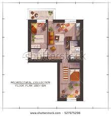 Fast Food Restaurant Floor Plan Architectural Color Floor Plan Bedrooms Apartment Stock Vector