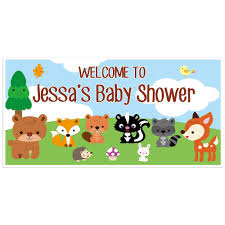 woodland creatures forest nature animals baby shower banner custom