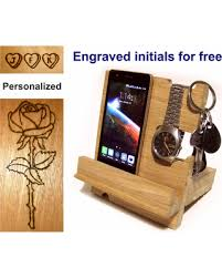 amazing deal on docking station wood phone stand nightstand