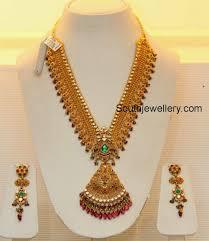 earrings in grt bridal gold necklace by grt jewellers jewellery designs