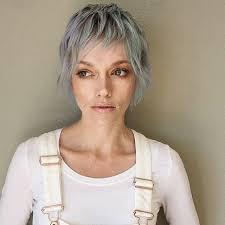 short shag pixie haircut women s long silver shaggy pixie cut with choppy bangs