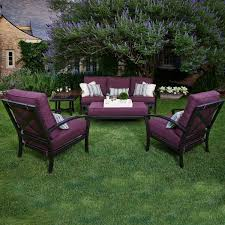 Wicker Deep Seating Patio Furniture by Meadowcraft Maddux Wrought Iron 5 Piece Deep Seating Patio