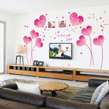 valentines day home decorations fashion red love heart wall decor vintage life tree wall sticker