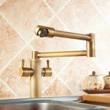 deck mount retractable pot filler kitchen faucet double handle in