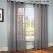 Sheer Grommet Curtains Stellan Dark Gray Striped Sheer Grommet Curtain Panels