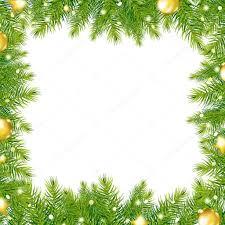 border with christmas tree and gold ball u2014 stock vector