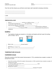 Converting Celsius To Fahrenheit Worksheets Lecture 3a Scientific Math Note Sheet Temperature Conversion 8