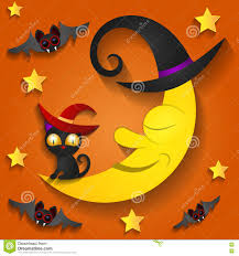 halloween background moon halloween background with moon in the orange sky stock vector
