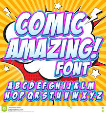 alphabet in the style of comics pop art letters and figures for