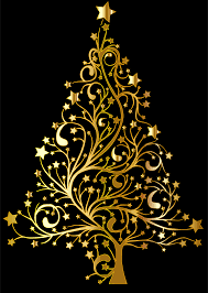 gold christmas clipart starry christmas tree gold