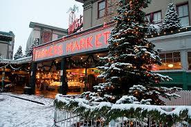 christmas holiday seattle pike place market tree lighting