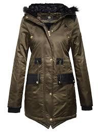 brave soul la s womens fur hood fishtail parka jacket military