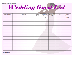 sample wedding guest list template 15 free documents in word