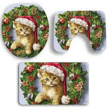 Bathroom Mats Set by 2018 3pcs Christmas Cat Pattern Bath Toilet Mats Set Colorful In