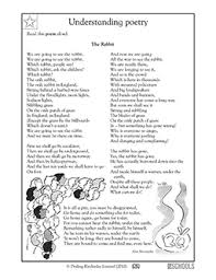 4th grade reading writing worksheets poems the rabbit