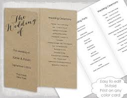 tri fold program wedding programs instant template trifold calligraphy