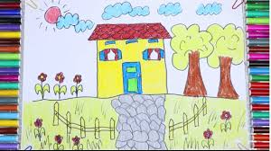 how to draw and paint house tree in the garden teaching drawing
