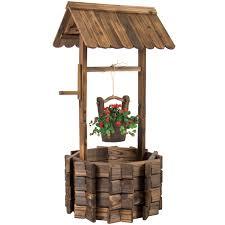 wooden wishing well bucket flower planter patio garden outdoor
