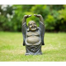 resin laughing garden buddha ornament raised