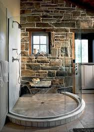 Rustic Vintage Home Decor by Bathroom Rustic Natural Stone Bathroom Wall With Tube Glass