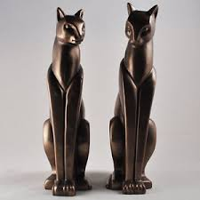 deco bronze cats pair stylised standing ornament sculpture